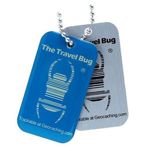 BLUE-Geocaching-QR-Travel-Bug-Glow-in-the-Dark